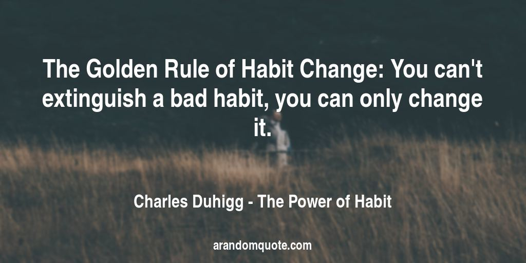 The Golden Rule of Habit Change: You can't extinguish a bad habit, you can only change it. | The Power of Habit - Charles Duhigg