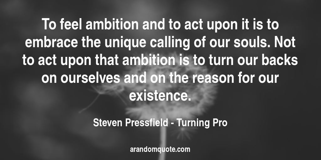 To feel ambition and to act upon it is to embrace the unique calling of our souls. Not to act upon that ambition is to turn our backs on ourselves and on the reason for our existence. | Turning Pro - Steven Pressfield